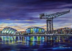 "ARTFINDER: "" The changing Face of Glasgow "" by Hanna Kaciniel - In this painting I tried to capture the illustrious ship building past of Glasgow while showing its continuing place in the world as a city of Innovative des..."