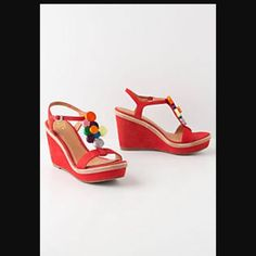 Anthropologie Miss Albright Merrily Wedges NIB 9 Never worn, only tried on indoors. Fits TTS for this brand. In box with all packaging. Anthropologie Shoes