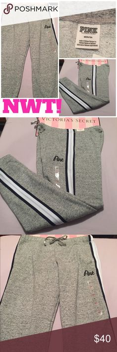 """NWT! PINK VS GRAY CAMPUS BOYFRIEND PANTS ⭐BRAND NEW W/ALL TAGS! THESE PINK BOYFRIEND PANTS ARE THE BEST & MOST COMFY LOUNGE PANTS EVER!⭐ Soft everyday fleece w/an elastic waistband & exposed drawstrings. Inseam is 32"""". Has PINK embroidered on the leg in navy blue. Has nice deep pockets too! ⭐I AM SORRY BUT I DO NOT TRADE OR APPRECIATE LOWBALL OFFERS-THANK YOU!⭐THESE DO RUN BIG!!⭐ PINK Victoria's Secret Pants"""