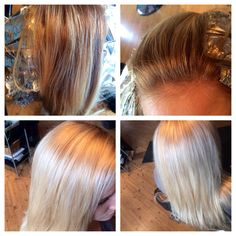 Before and after! Can you say platinum blonde baby! #hair#kayshairr