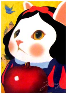 Jetoy Snow White Cat Postcard