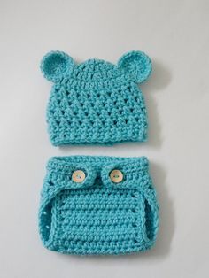Crocheted Newborn Teddy Bear Baby Hat and Diaper Cover in Baby Blue - Photo Prop