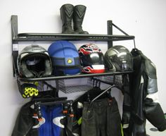 Motor bike helmet, leathers, clothing storage
