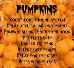 Pumpkin and its benefits..  Did you know? The distinctive bright orange color of pumpkin clearly indicates that it's an excellent source of that all-important antioxidant beta-carotene. Pumpkin also has another carotenoid, beta-cryptoxanthin, which may decrease the risk of lung cancer in smokers!
