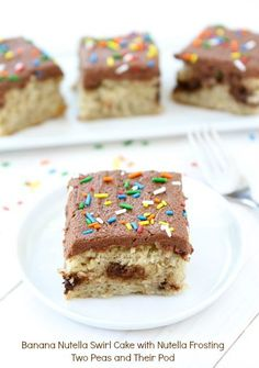 Banana Nutella Swirl Cake with Nutella Frosting from www.twopeasandtheirpod.com #recipe #Nutella