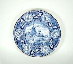 Blue and White Plates Wall Hanging Plate Wall by DKVINTAGEGALLERY