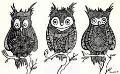 {Illustration} {Pattern} Three Owls on a Branch