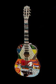 Dave Newman | Reclaimed Art | Red Dot Special | $2150 Found Art, Guitar Art, Red Dots, Model Trains, Altered Art, Mosaic, Recycling, Display, Cool Stuff