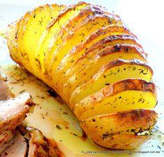 Patatas Hasselback  Cuando hice la receta de Solomillo a la mostaza antigua utilicé estas patatas como guarnición y muchos de vo...