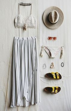Skirt: boho slide shoes crochet bikini sun hat straw hat striped crochet crop top gold shoes pink