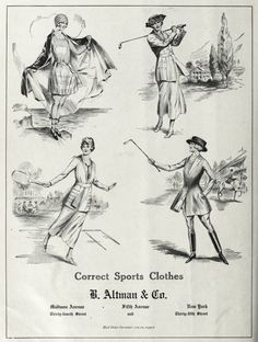 WOMEN SPORTS: The proper sportswear from Altman Co Sports Clothes circa 1919