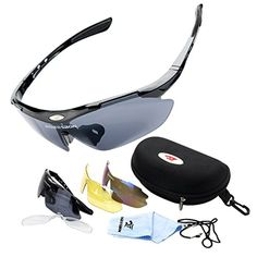 ROBESBON Herren Polarisierte Fahrradbrille 3 Wechselgläser Outdoor Sportbrille UV400 Sonnenbrille Brillenetui Brillenbeutel Radbrille Herrenbrille - Schwarz Rahmen