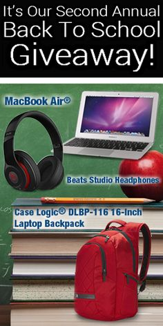 Win a MacBook Air and backpack filled with prizes