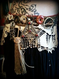Orientalism in Tattered Lace  Tribal Fusion Belt  by thegypsykiss, $121.00