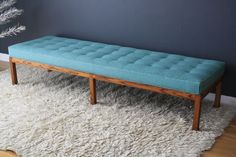 """Vintage Mid-Century Bench - needs to be recovered in a more """"stylish"""" color!"""