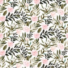 Woodland Blush Roses // White custom fabric by hipkiddesigns for sale on Spoonflower