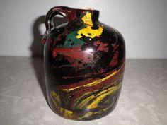 Vintage Stoneware Beehive Brown Jug Yellow & Red Painted Spirals Moonshine  Nice Spirals, Beehive, Alter Ego, Have Some Fun, Vintage Home Decor, Stoneware, Art Decor, Porcelain, Vase