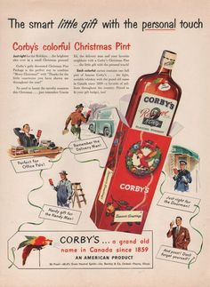 1949 VINTAGE CORYBYS BLENDED WHISKEY COLOFUL CHRISTMAS PINT PRINT AD 279