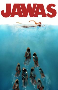 Here are 25 best spoofs of the iconic 'Jaws' movie poster. Here are 25 best spoofs of the iconic 'Jaws' movie poster. - Funny - Check out: Funny Spoofs Of The 'Jaws' Movie Poster on Barnorama Star Wars Meme, Star Wars Fan Art, Star Wars Witze, Star Wars Film, Darth Vader, Jaws Movie Poster, Movie Posters, Humour Geek, Cuadros Star Wars