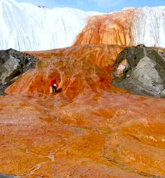 "McMurdo Dry Valleys are located on Antarctica but, believe it or not, they lack snow. That makes the area to be a desert, of course the coldest one in the world. However, that's not the only strange things here. The valleys are ""bleeding"" from the many geysers, because of the high concentration of iron, making picture of world different than Earth."