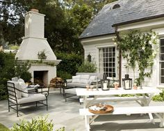 Outdoor fireplace, Painted Brick Design, Pictures, Table.... I need spring!!!
