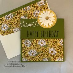 Another Retiring Favorite… Perennial Birthday | Just Stampin' Handmade Thank You Cards, Birthday Sentiments, Birthday Cards For Women, Fun Fold Cards, Card Tutorials, Card Kit, Flower Cards, Birthday Party Decorations, Stampin Up Cards