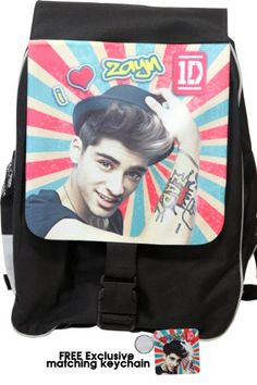 """One Direction Large Backpack, """"Zayn Malik in Retro"""", Limited Edition with Free Exclusive Keychain One Direction Gifts, One Direction Merch, I Love One Direction, Zayn Malik, First Love, Backpacks, Amazon, Retro, Free"""