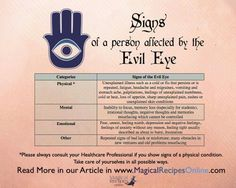signs and omens of a person affected by the evil eye - read Magick Spells, Witchcraft, Eye Meaning, Hamsa Meaning, Wiccan Spell Book, Wiccan Books, Protection Spells, Book Of Shadows, Spelling