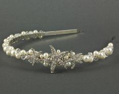 Starfish Headband | Wedding Headband | Pearl Crystal Wedding Headband |  Pearl Bridal Hairpiece | Wedding Tiara | Seashore Wedding…