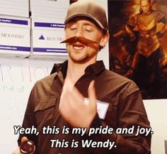 GIF Steve and Wendy the mustache... a better love story than Twilight.