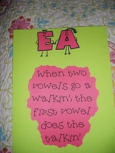 When two vowels go a walking, the first one does the talking..Cute way of getting kids to think about double vowels!