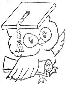 coloring pages for graduation. Graduation day is a day that students always look forward to. Whether it's high school graduation, college or even junior high school, this graduation. Felt Crafts Patterns, Owl Patterns, Embroidery Patterns, Coloring Pages To Print, Coloring Book Pages, Printable Coloring Pages, Graduation Cap Drawing, Orla Infantil, Feather Template