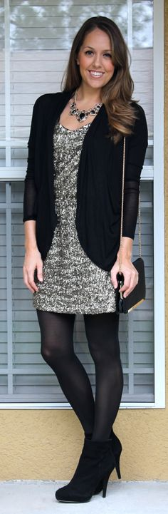 J's Everyday Fashion: NYE Option (gold sequin dress, thin black cardigan, statement necklace, and chain strap gold purse)