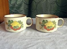 Vintage 70's Soup Mug Unique Roasted Chicken Design Set of 2 Coffee Cup 3 in. H