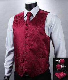 VE07 Red Paisley Top Design Wedding Men 100%Silk Waistcoat Vest Pocket Square Cufflinks Cravat Set for Suit Tuxedo