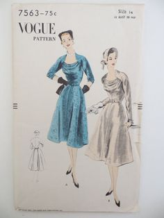 VOGUE Unprinted Complete Pattern  No. 7563    **Unused and factory folded with all original 8 pieces**  Includes instructions One-Piece Dress  Size