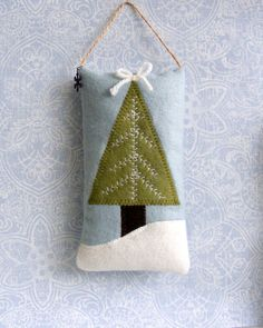 Christmas tree pillow ornament door knob hanger by Linohandmade