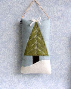 Christmas tree pillow ornament door knob hanger by Linohandmade