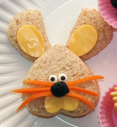 Bunny sandwich - Just use your heart shaped cookie cutter for the face and the ears (cut the heart in half for the ears).