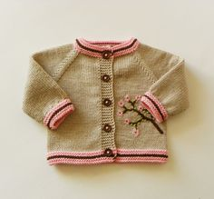 Cherry blossom cardigan beige sweater baby sweater with flowers knitted sweater MADE TO ORDER