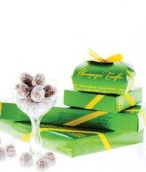 Half & Half Champagne Truffles in light and dark Chocolate. Teuscher #Candies.