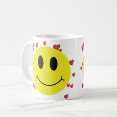 Smiley Face with Red Hearts Coffee Mug - red gifts color style cyo diy personalize unique