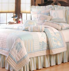 The Country Porch features the Coastal Living Quilt and bedding accessories from C&F Enterprises. Pink Bedrooms, Coastal Bedrooms, Coastal Living, Coastal Quilts, Coastal Bedding, Seaside Decor, Coastal Decor, Tropical Bedding, Beach Bedding Sets