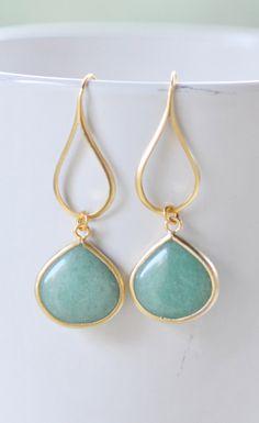 Gold Sage Green Drop Earrings.