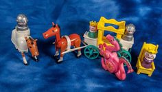 vintage LITTLE PEOPLE Fisher Price KNIGHTS horses CARRIAGE Princess QUEEN dragon #FisherPrice