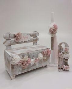 βαπτιστικό κουτί παγκάκι με θέμα τα λουλούδια Baby Girl Baptism, Baby Hamper, Decoupage Box, Christening, Diy And Crafts, Decorative Boxes, Candles, Baptism Ideas, Home Decor