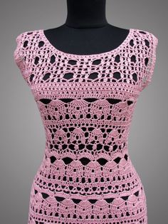 Crochet Dress Catherine. Ready to ship. Pink Day by TsarevaCrochet