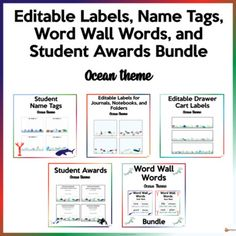 Make your classroom fun and bright with our ocean theme resources. A must-have for your classroom organization.This bundle includes 5 of our resourcesA. Editable Name TagsThese editable name tags are a must-have throughout the school year. They could be printed out on a paper board and laminated.Thi... Classroom Fun, Classroom Organization, Classroom Management, Student Awards, Ocean Themes, Name Tags, School Resources, My Teacher, Back To School
