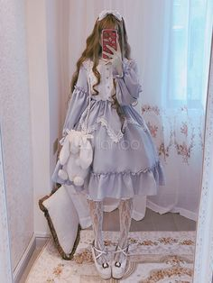 Being the most beautiful Lolita princess, Lolitashow Sweet Lolita OP Dress Alice In Wonderland Ruffle Lace Lolita One Piece Dress couples with sweet styles and comfortable materials at affordable prices. Harajuku Fashion, Kawaii Fashion, Lolita Fashion, Cute Fashion, Fashion Outfits, Rock Fashion, Emo Fashion, Fashion Shirts, Fashion Boots