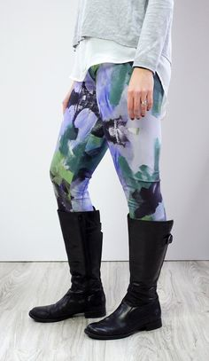 Wellspring Leggings in purple and green // printed leggings and tall boots // via megan auman